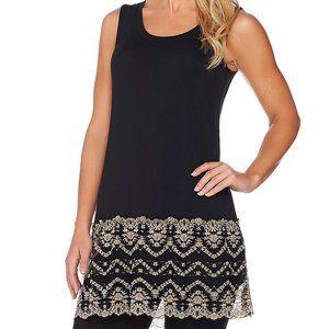 XS LOGO Lori Goldstein Knit Tank Top Lace Black